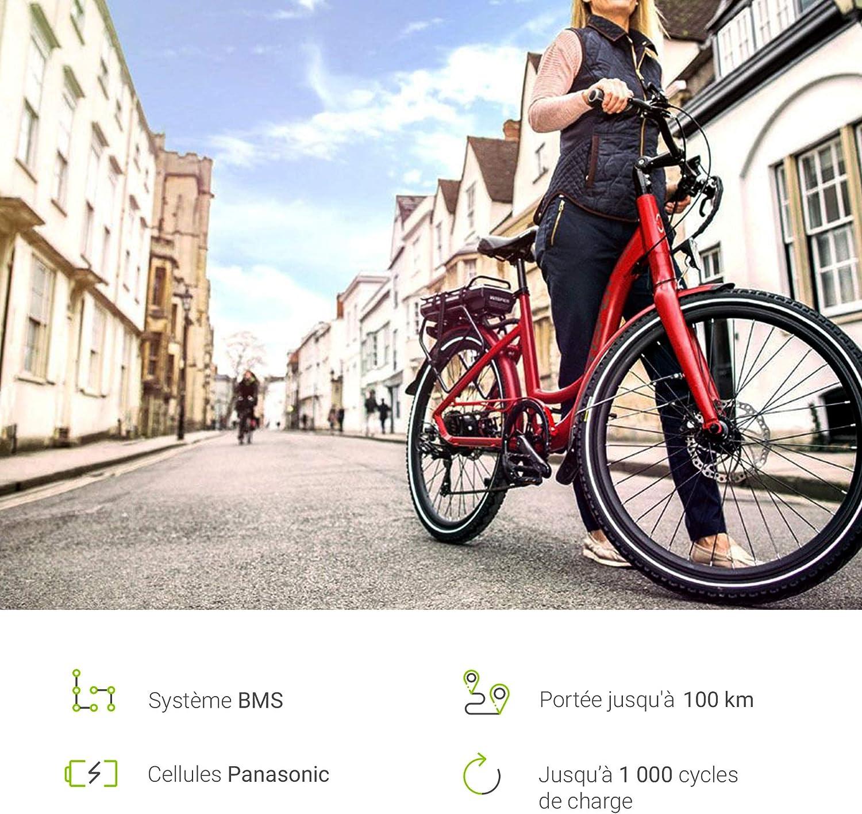 GC/® Batterie E-Bike 36V 10.4Ah V/élos /Électriques Pedelec Silverfish Gitane Gretel Raleigh avec Cellules Panasonic et Chargeur