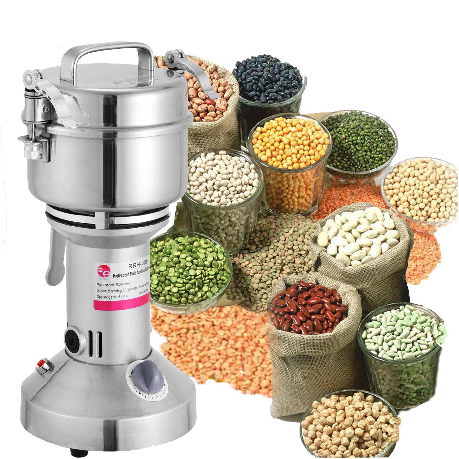 LOVSHARE 350g Electric Mill Herb Grain Grinder 50-300 Mesh Powder Machine 28000 R/Min Superfine Powder Pulverizer for Spice Herbs Grains Coffee Rice Corn Sesame Soybean Fish Feed Pepper Medicine