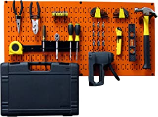 product image for Wall Control Modular Pegboard Tool Organizer System - Wall-Mounted Metal Peg Board Tool Storage Unit for Pegboard Tiling (Orange Pegboard)