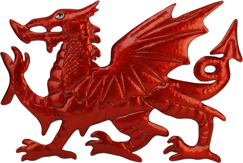 CYMRU Welsh Dragon wall art Solid Steel Metal hand finished Y Ddraig Goch gift