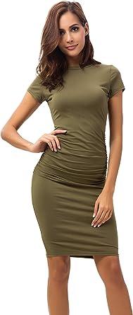 Missufe Bodycon damska sukienka na ołÓwki, krÓtki rękaw, kolor: wojskowa zieleń , rozmiar: s: Odzież