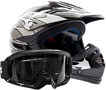 Kids Youth Offroad Gear Combo Helmet & Goggles DOT Motocross ATV Dirt Bike MX Motorcycle Silver