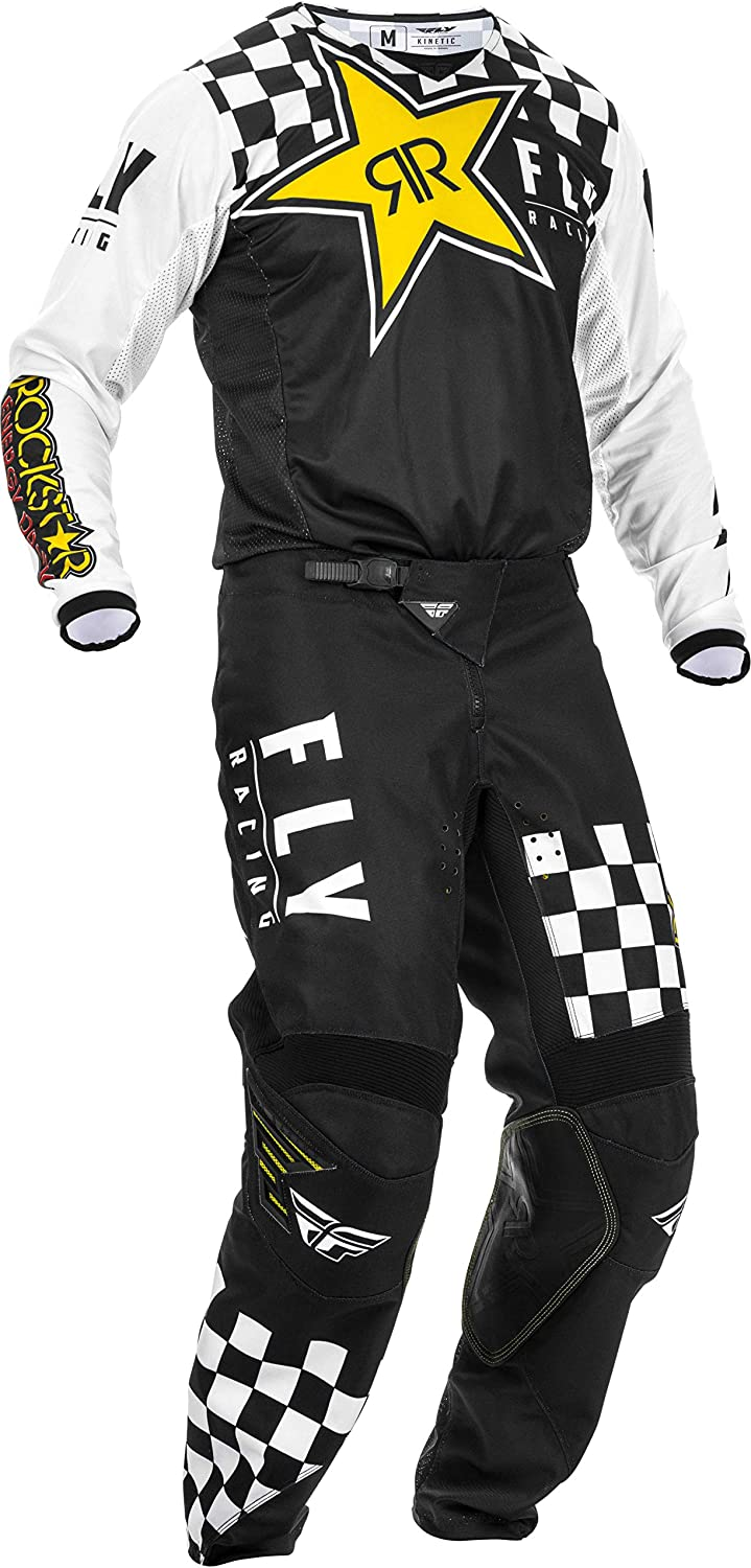 Fly Racing 2020 Kinetic K120 Black//Yellow//White Rockstar Adult MX Gear Combination