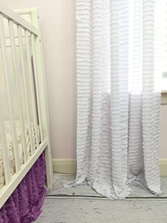 White Ruffle Curtain 84quot Wrinkle Free Shabby Chic Sheer Window Drapery Treatment For Girls Bedroom