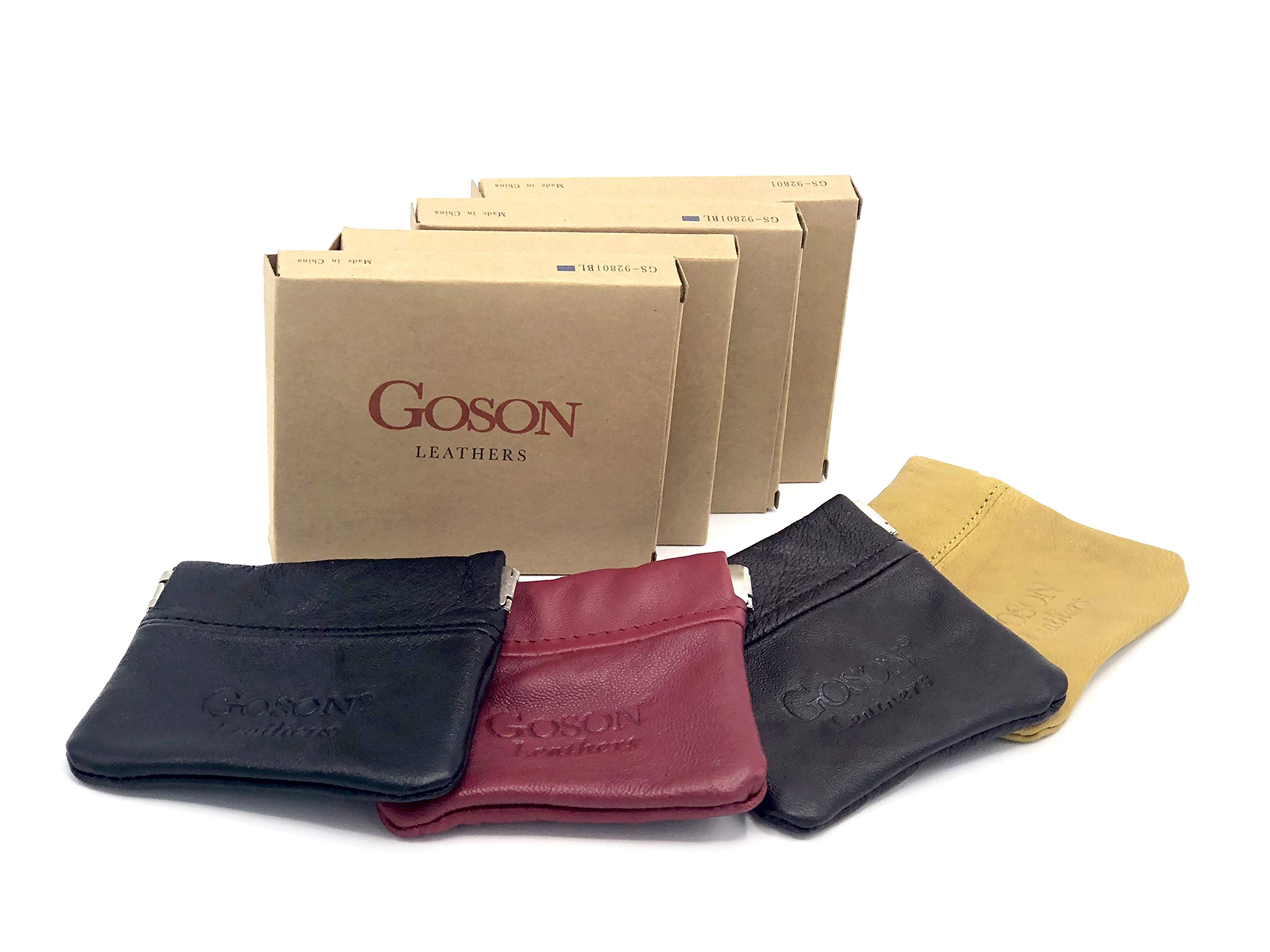 Goson Classic Leather Squeeze Coin Purse change Holder For Men and Women, Pouch size 3.25 in X 3.25 in (4 Pack - Black, Red, Brown, Yellow) by Goson