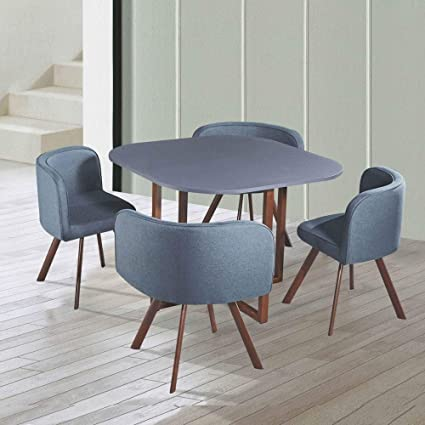 Decoinparis Set Tavolo 4 Sedie Da Incasso Colore Grigio Amazon It Casa E Cucina