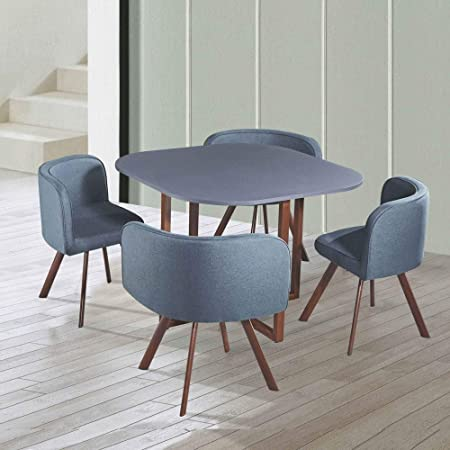 Decoinparis Ensemble Table 4 Chaises Encastrables Flen Gris