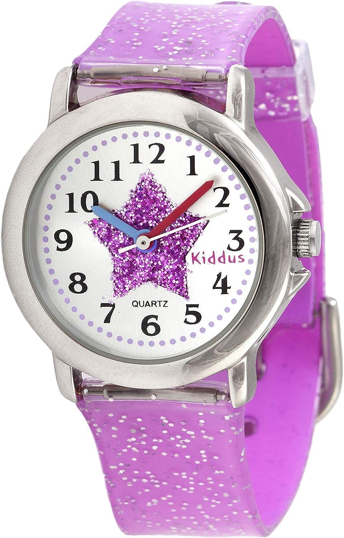 KIDDUS Reloj de Pulsera analógico para niña, Chica. con Ejercicios educativos para Aprender la Hora. Mecanismo de Cuarzo japonés Purpurina, Elegante y a la Moda