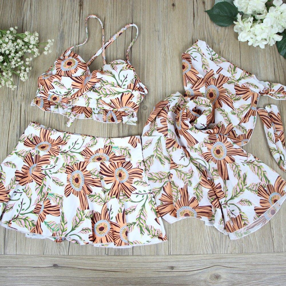 女性の 水着 保守的な ビーチ ビキニ 水着 スパ 水着 セット 分割タイプ 3セット スカート 水着 (Color : Orange, Size : L) B07F41DRSX