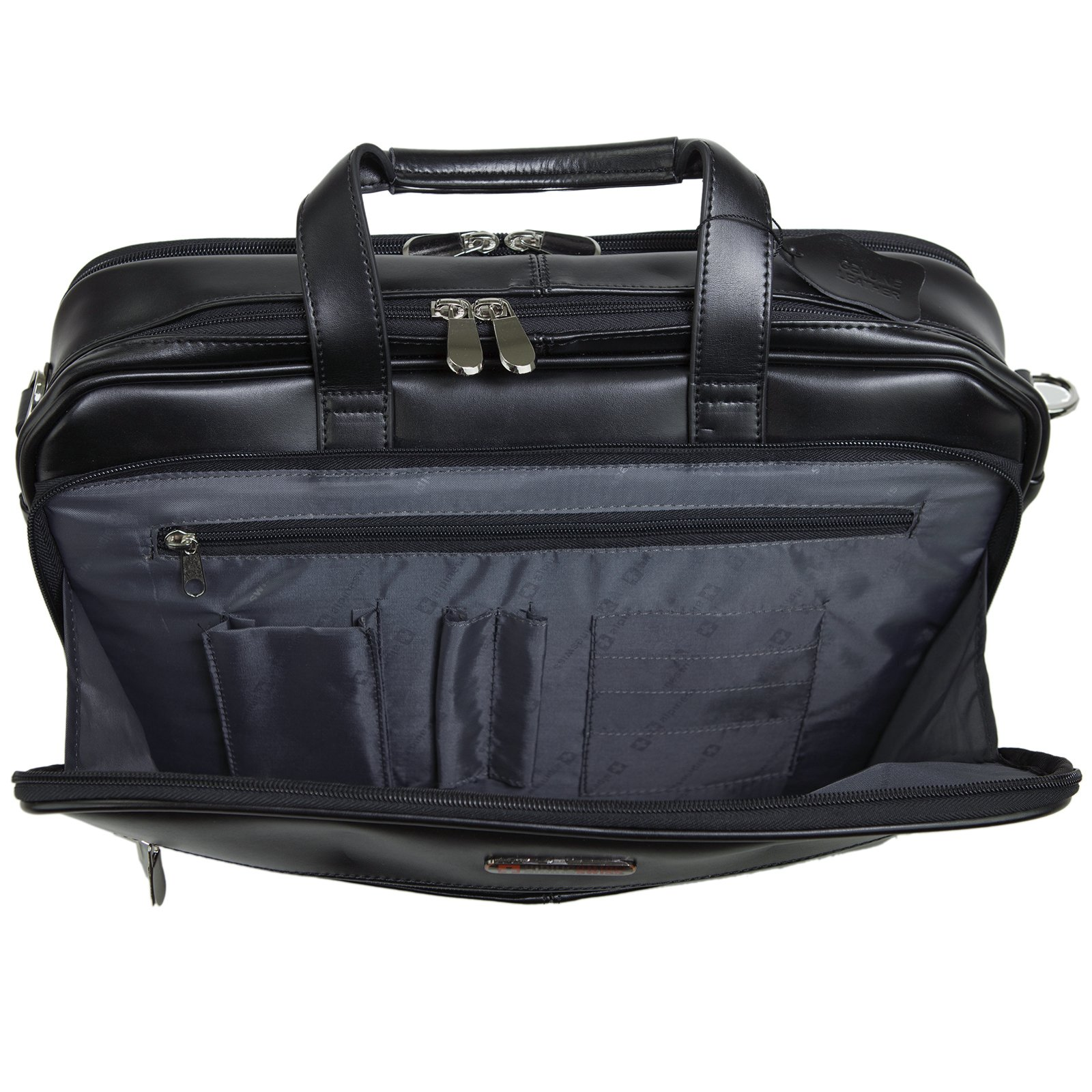 Alpine Swiss Monroe Leather Briefcase Top-Zip Laptop Messenger Bag Black by alpine swiss (Image #6)