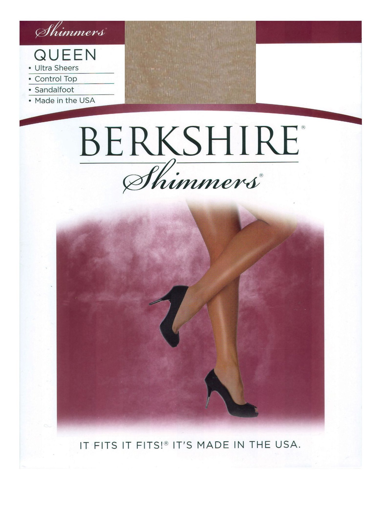 Berkshire Women's Plus-Size Queen Shimmers Ultra Sheer Control Top Pantyhose 4412,Champagne,QP