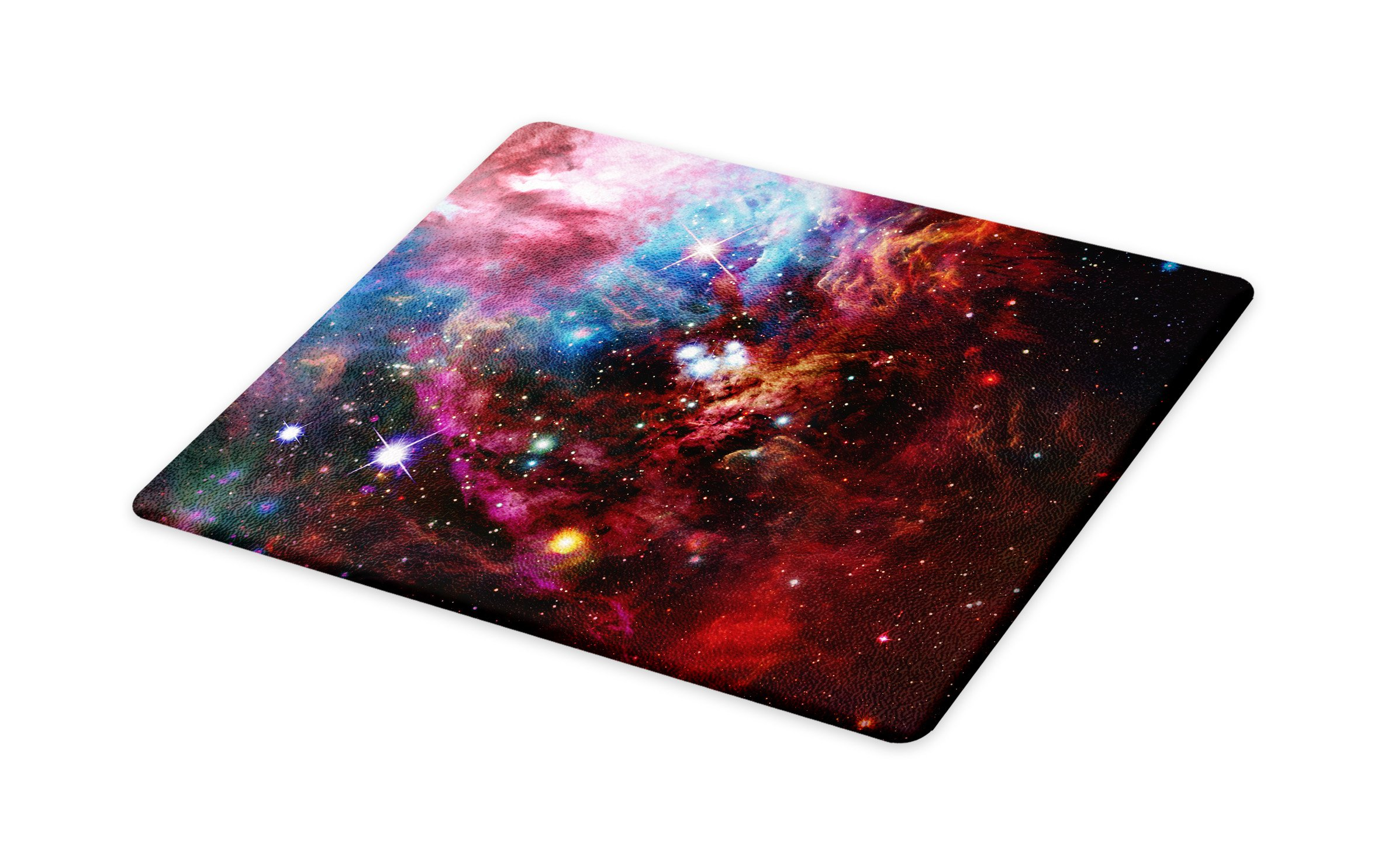Lunarable Outer Space Cutting Board, Space Nebula with Cluster in The Cosmos Universe Galaxy Solar Celestial Zone, Decorative Tempered Glass Cutting and Serving Board, Large Size, Teal Red Pink