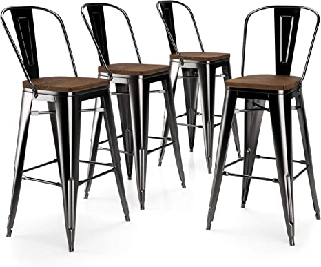 Set of 4 Rustic Bar Stools Chairs Bistro Metal Industrial Cushion Wood Stackable