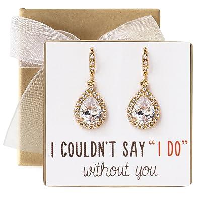 Amazoncom AMY O Wedding Bridesmaids Gift Drop Earrings or Jewelry