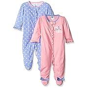 Gerber Baby Girls' 2 Pack Zip Front Sleep 'n Play,Leopard,0-3 Months