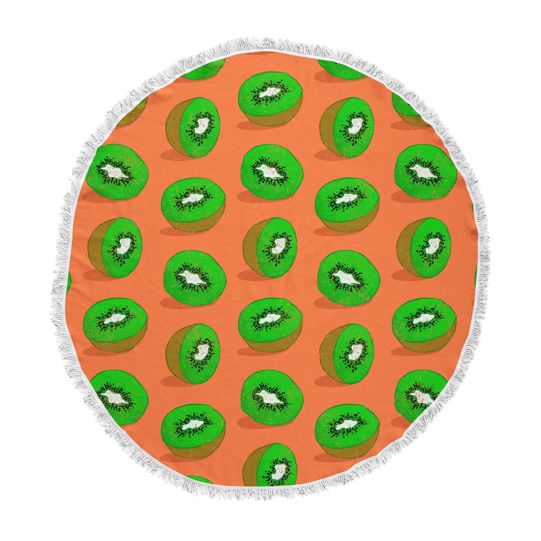Kess InHouse Evgenia Kiwifruit Orange Green Round Beach Towel Blanket