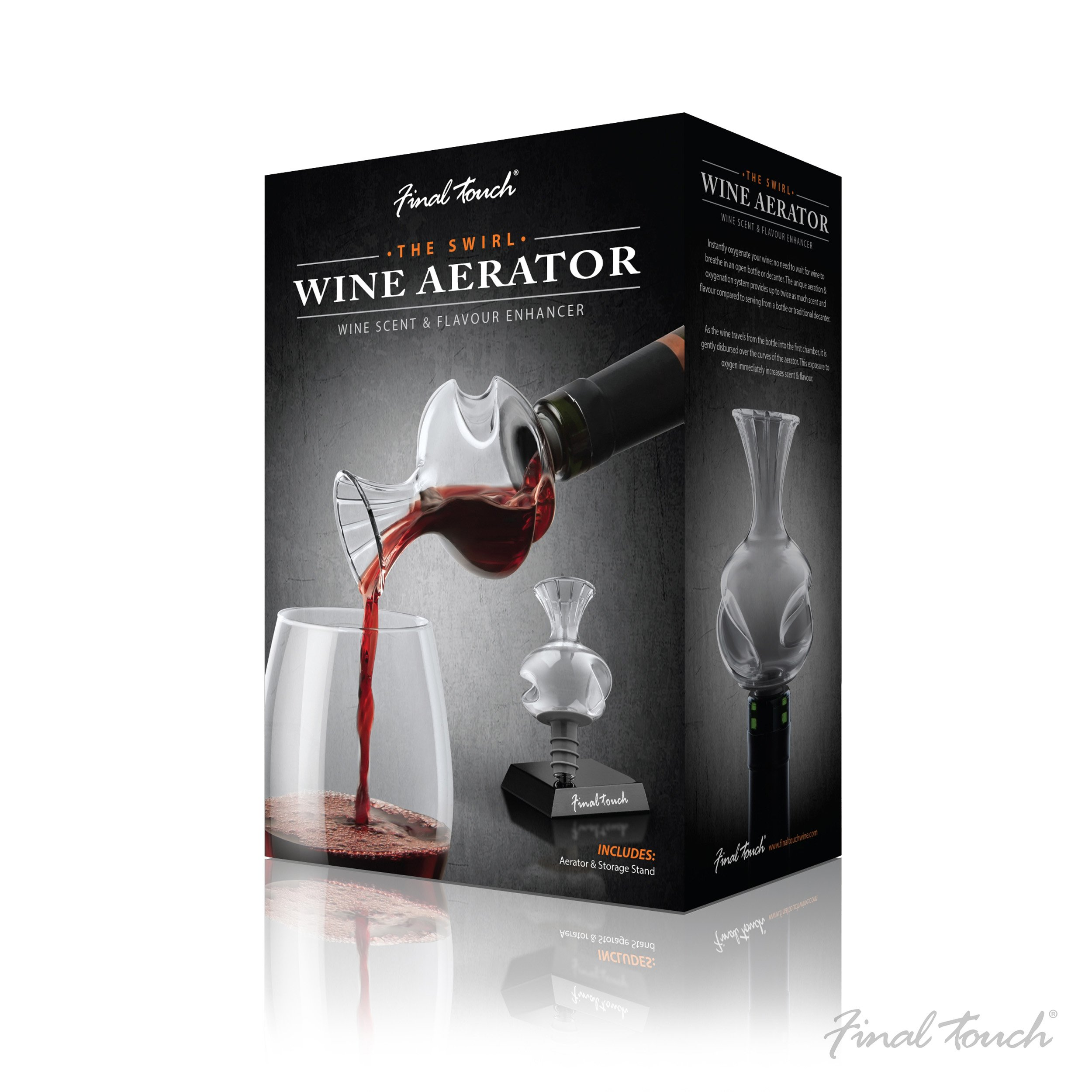 The Swirl Glass Wine Aerator with Stand - On The Bottle Wine Scent & Flavor Enhancer by Final Touch (Image #3)