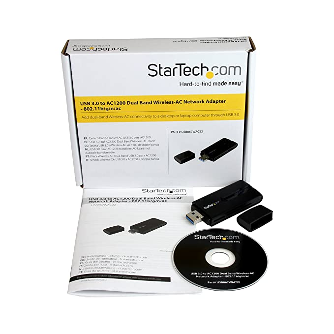 StarTech.com USB 3.0 AC1200 Dual Band Wireless-AC Network Adapter - 802.11ac WiFi Adapter - 2.4GHz / 5GHz USB Wireless - AC Network Card (USB867WAC22)