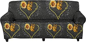 WELLFLYHOM Butterfly Sunflower Sofa Cover 1 Piece Patterned Stretch Couch Slipcovers Furniture Protector for Armchair Washable Soft Elastic Fabric Slip Couch Covers Anti Slip (3 Seater, Large)