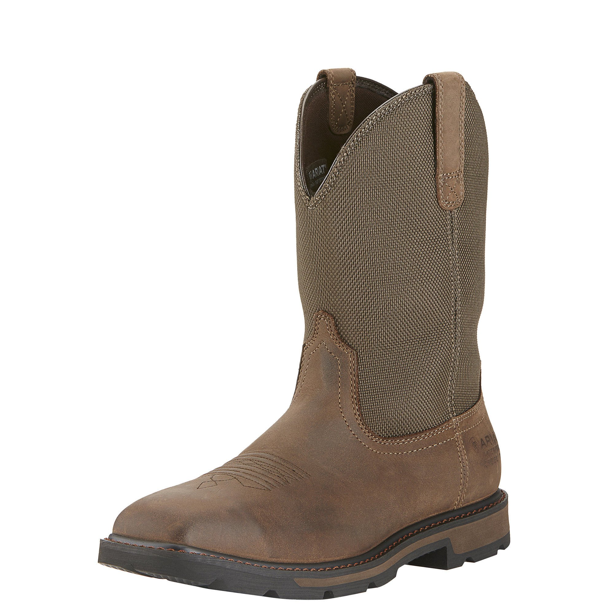 Ariat Men's Groundbreaker Wide Square H2O Steel Toe Work Boot, Palm Brown/Ballistic Brown, 12 M US