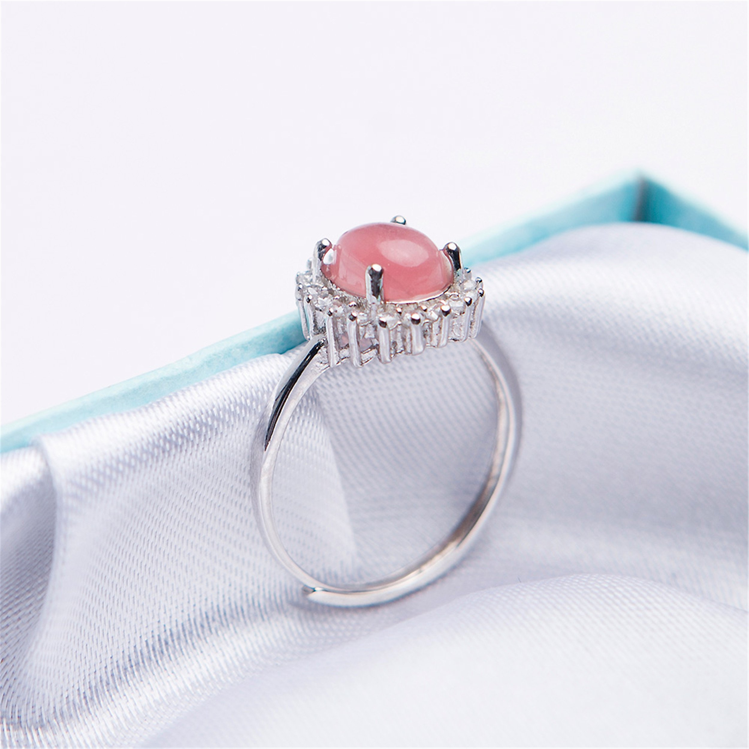 LiZiFang Natural Red Rhodochrosite Gemstone Crystal Fashion Silver Wedding Rings Adjustable Size by LiZiFang (Image #3)