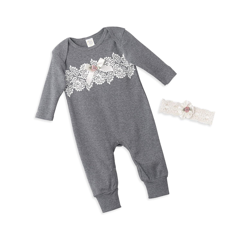 c40e1ca9c7fa Amazon.com  Tesa Babe Lace Flower Romper + Headband Set for Newborn   Baby  Girls