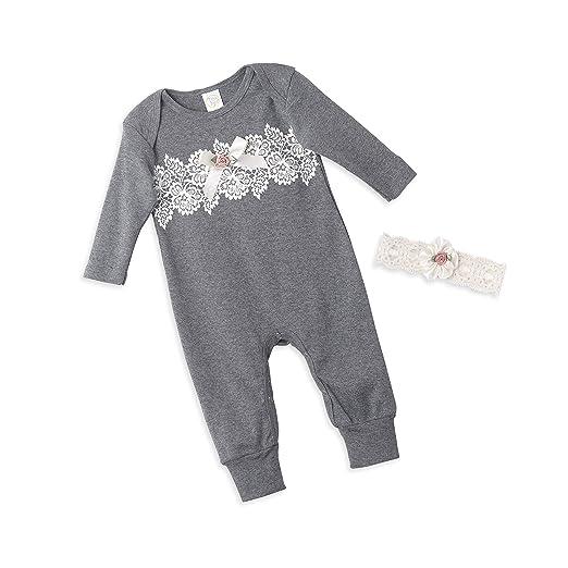 055d1625884a Amazon.com  Tesa Babe Lace Flower Romper + Headband Set for Newborn ...