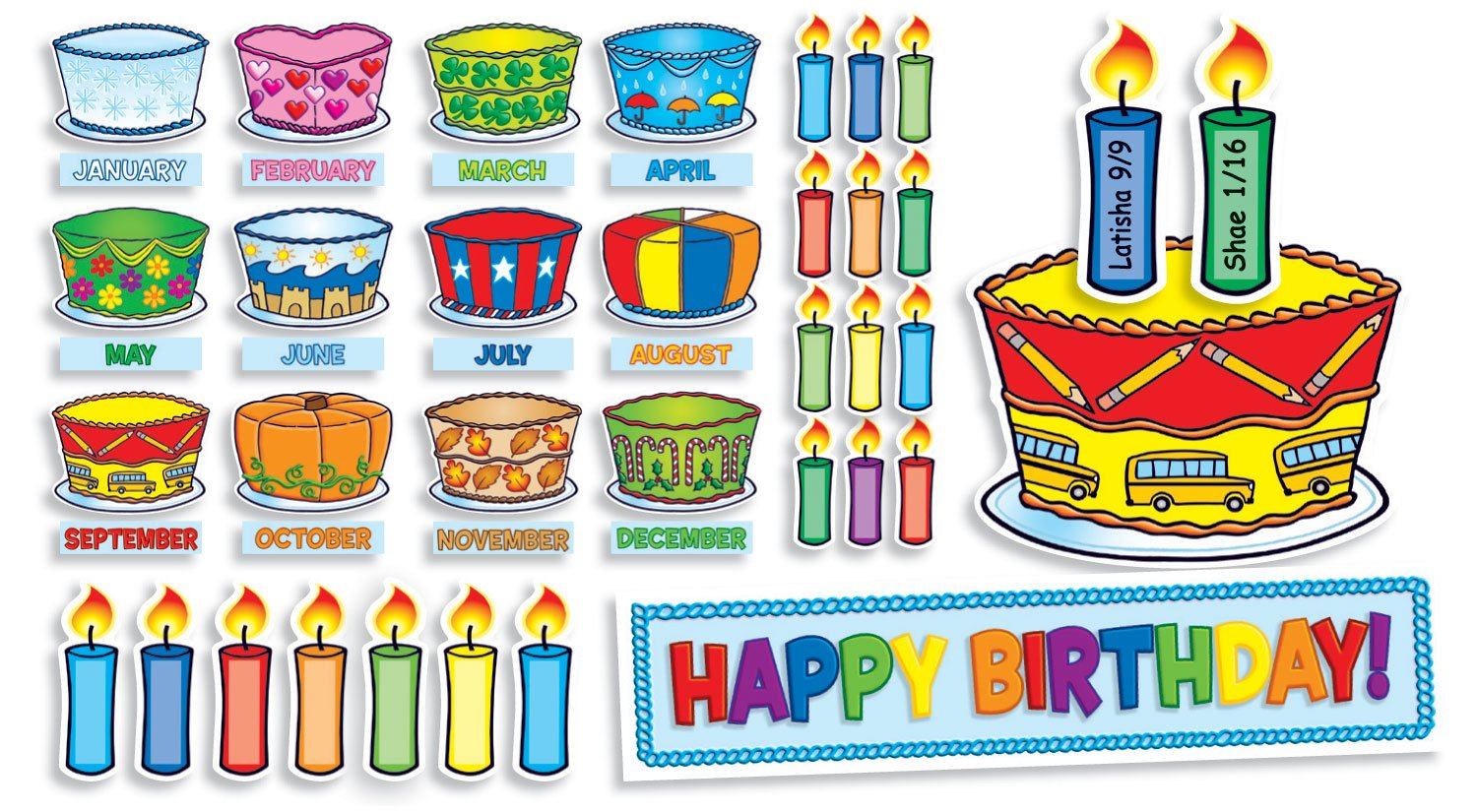 Amazon Scholastic Birthday Cakes Mini Bulletin Board TF8072 Themed Classroom Displays And Decoration Office Products