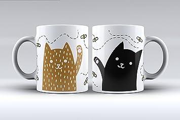 Pack 2 tazas ilustración gatos decorada desayuno regalo original pareja: Amazon.es: Hogar