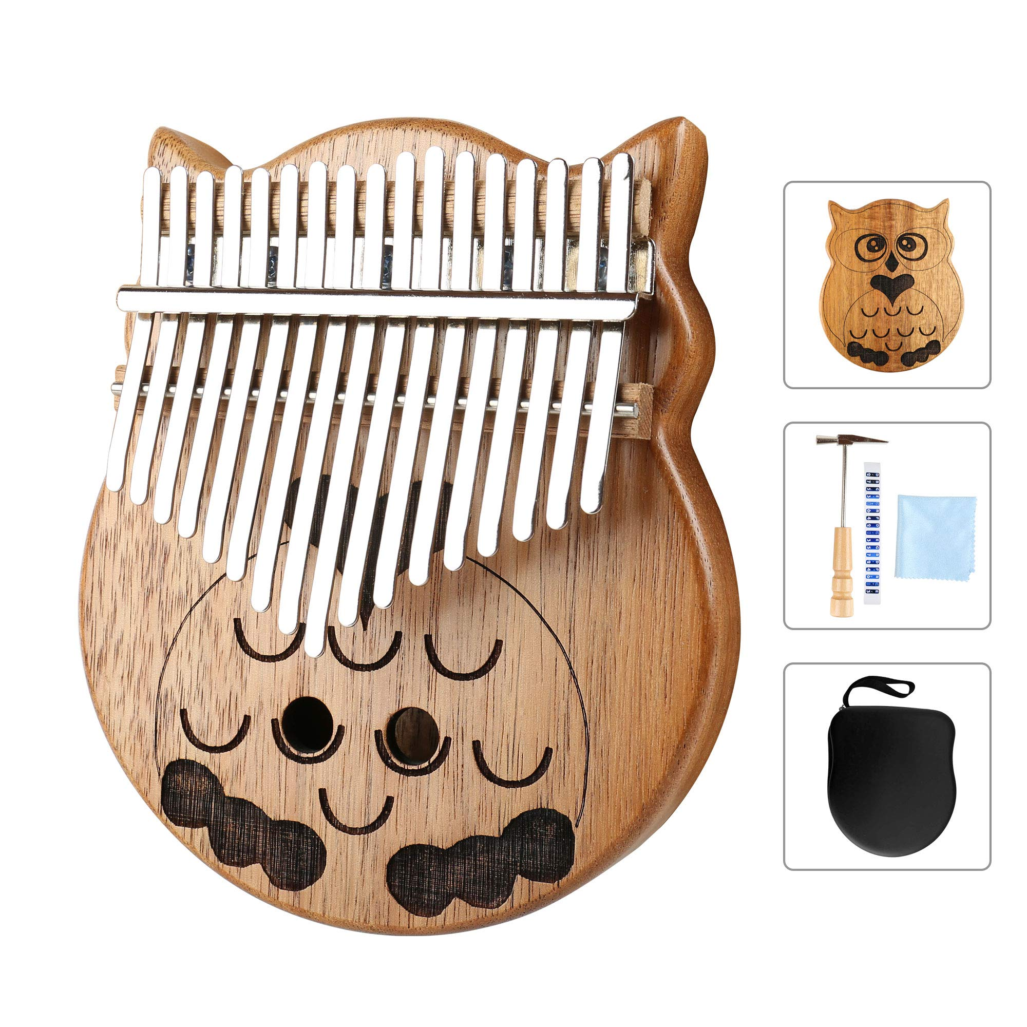 Owl Kalimba Thumb Piano 17 Keys Thumb Instrument with Number Sticker, Tuning Hammer, Protective Box and Cleanning Cloth