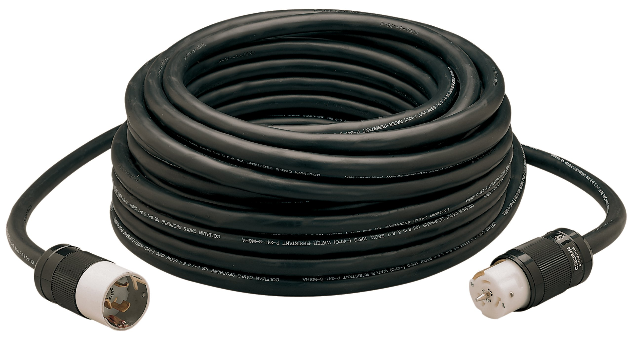 Coleman Cable 01919 50-Amp Twist-Lock Generator Power Extension Cord, 6/3 & 8/1 SEOW Black, 100-Foot