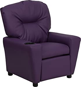 Flash Furniture Contemporary Purple Vinyl Kids Recliner with Cup Holder