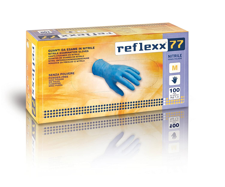 Reflexx r77100/M sin polvo guantes de nitrilo Gr 3.0, tamañ o mediano, color azul claro (Pack de 100) tamaño mediano Reflexx spa