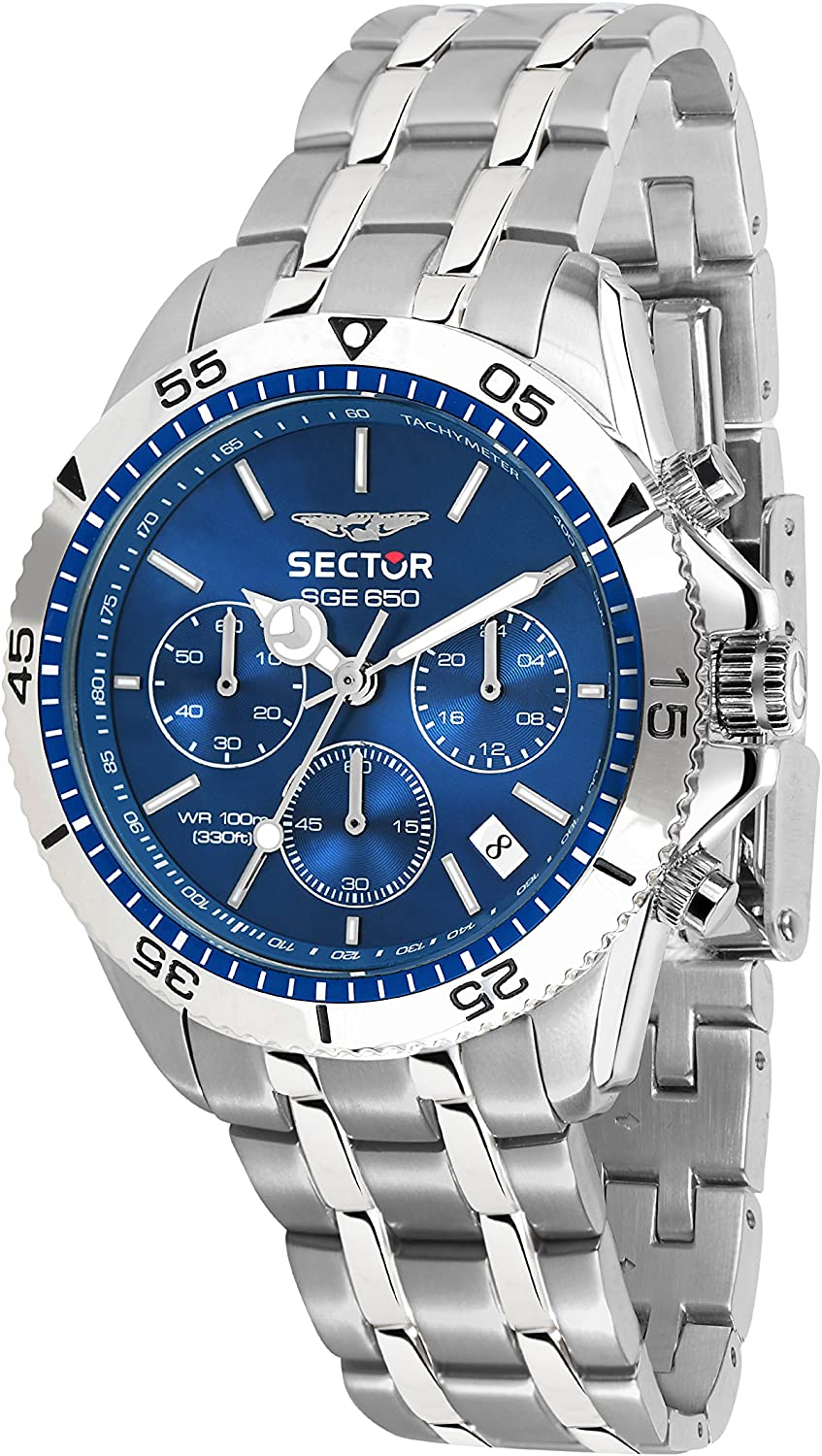 Sector No Limits Men's Sge 650 Analog-Quartz Sport Watch with Stainless-Steel Strap, Silver, 18 (Model: R3273962001)