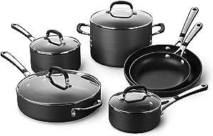 Simply Calphalon Nonstick Cookware Set, 10 Piece (SA10H)