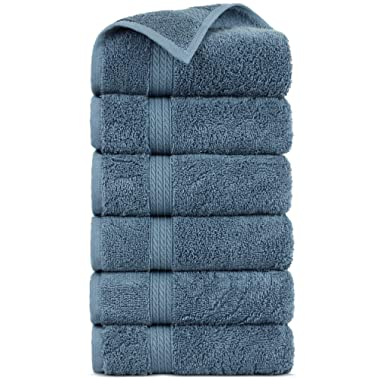 Premium Turkish Cotton 4-Striped Border Eco-Friendly and Long Stable Hand Towel (True Blue, Set of 6)