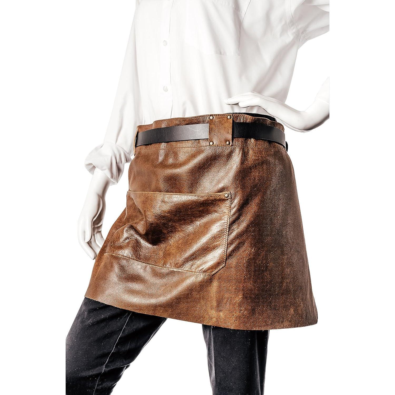 Echt Leder Kellnerschürze – Schankschürze – Grillschürze – Kochschürze –– Bistroschürze - Schürze aus hochwertigem Rindsleder mit optimaler Passform, 84 cm x 70 cm, in Farbe Braun Vintage