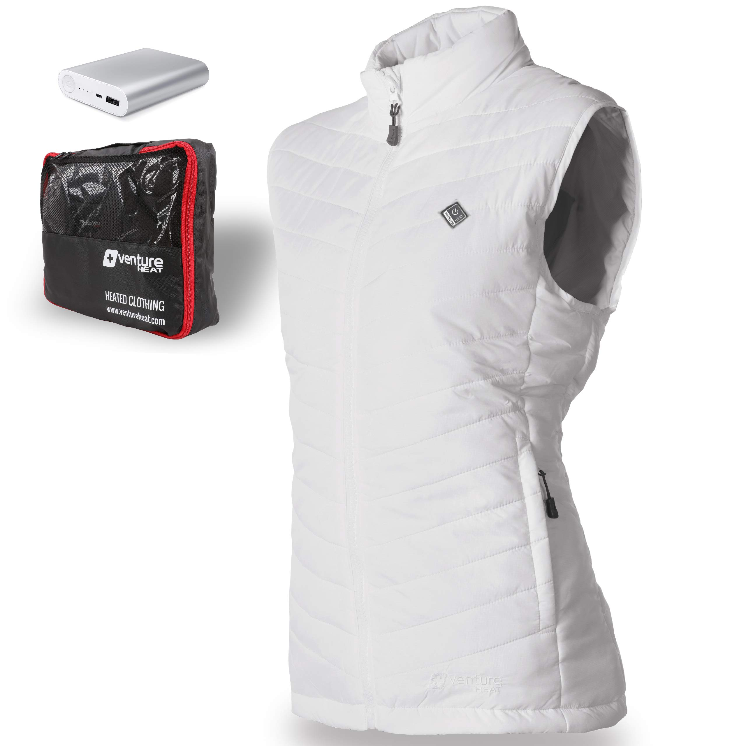 Venture Heat Women's Heated Vest with Battery 12 Hour - The Roam Puffer Heated Vest for Women, USB Powered (L, White) by Venture Heat