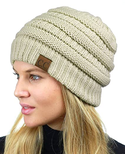 5005003cc3b C.C Unisex Chunky Soft Stretch Cable Knit Warm Fuzzy Lined Skully Beanie