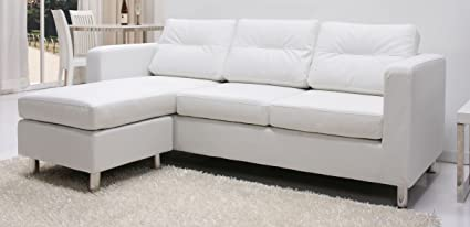 Gold Sparrow Detroit Convertible Sectional Sofa And Ottoman, White