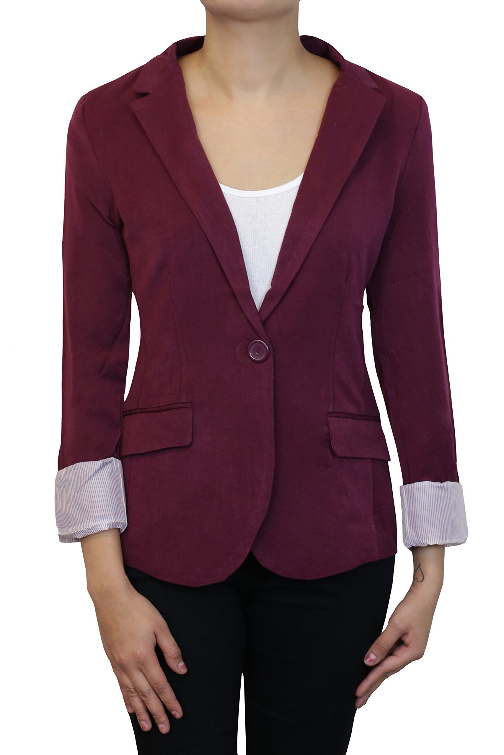 Instar Mode Women's Versatile Business Attire Blazers in Varies Styles (B22117 Burgundy, Medium)