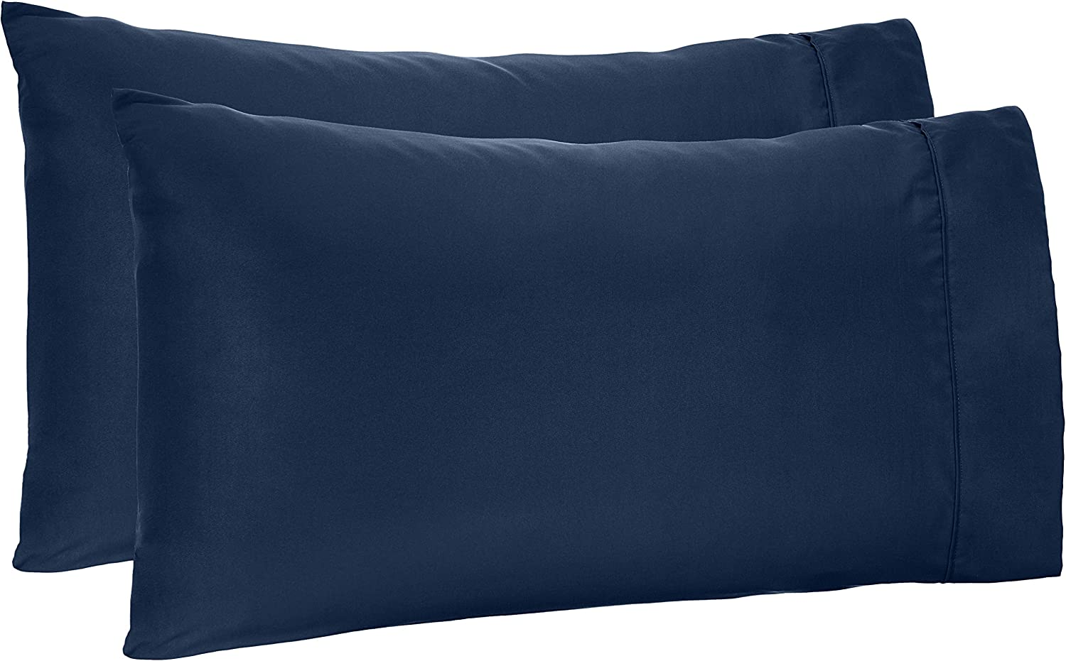AmazonBasics Light-Weight Microfiber Pillowcases - 2-Pack, King, Navy Blue