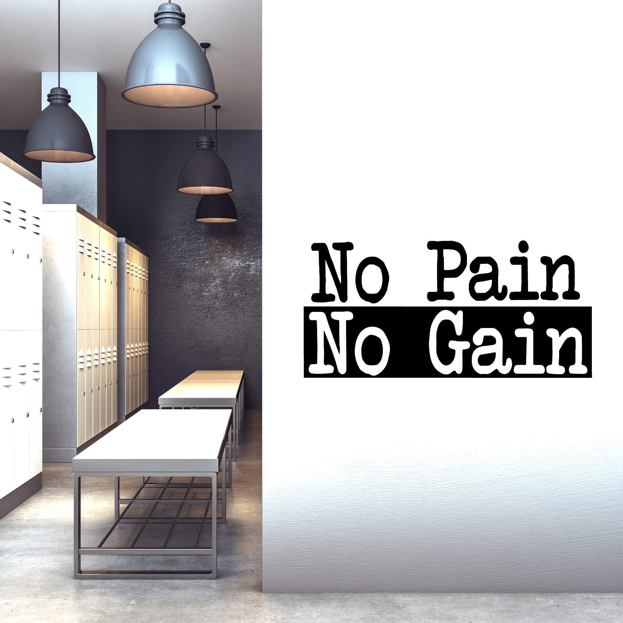 Extra Large Gym Wall Decal | No Pain No Gain Inspirational Wall Sticker Quote | 2 ft x 4 ft HUGE Wall Art Decoration | Big Vinyl Lettering Motivation for the Home Gym | Workout Exercise Sign by CrafteLife (Image #3)