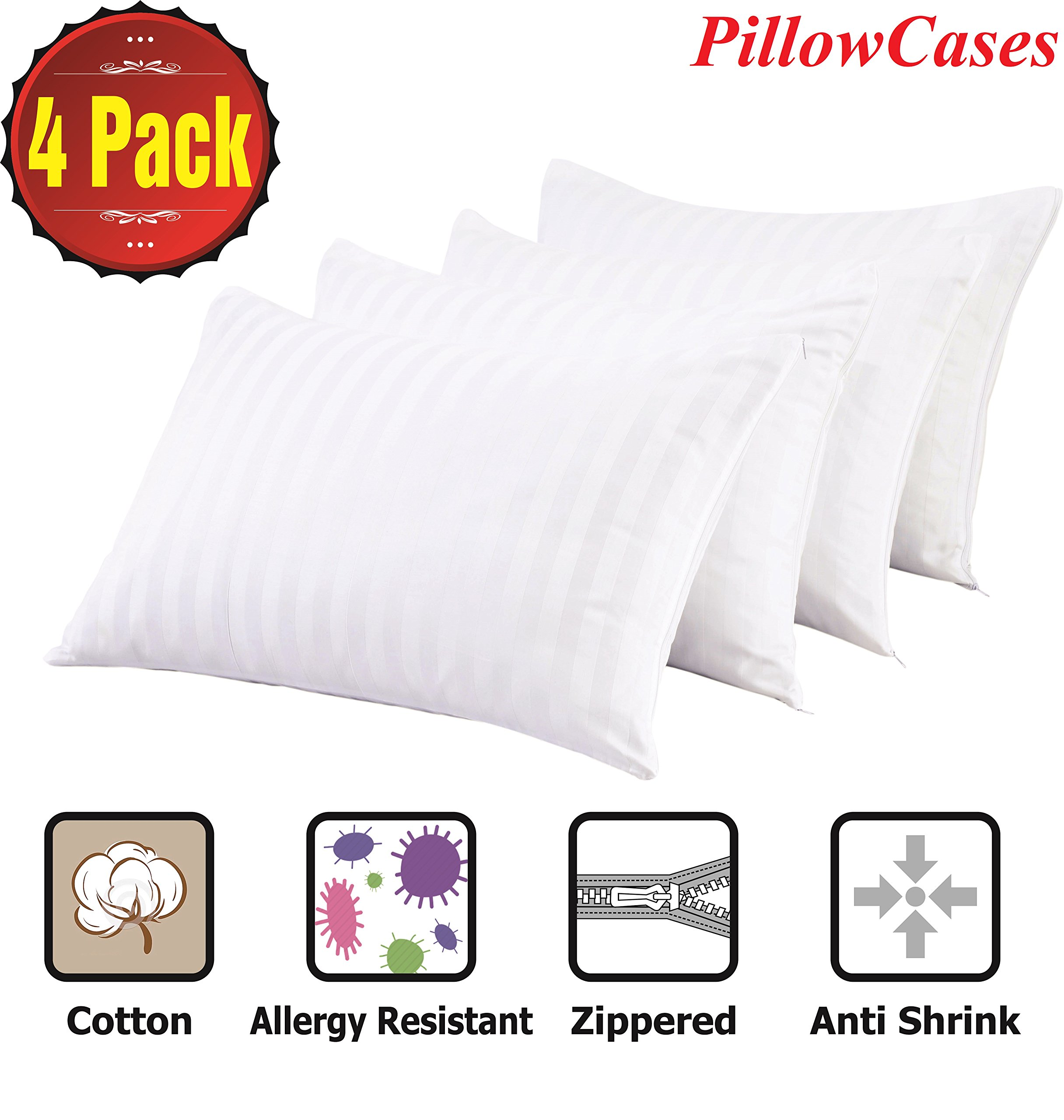 Niagara Sleep Solution Pillowcases 4 Pack Standard 20x26 Inches Pillow Covers ❤️ Reduces Allergies ❤️White Protectors Premium High 200 300 Thread Count Cotton Sateen Set Zippered Hotel Quality