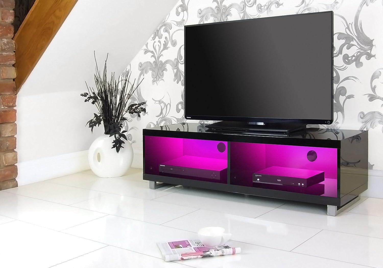 Centurion Gallus Gloss White 2-Black Drawers 3-Shelf TV Stand