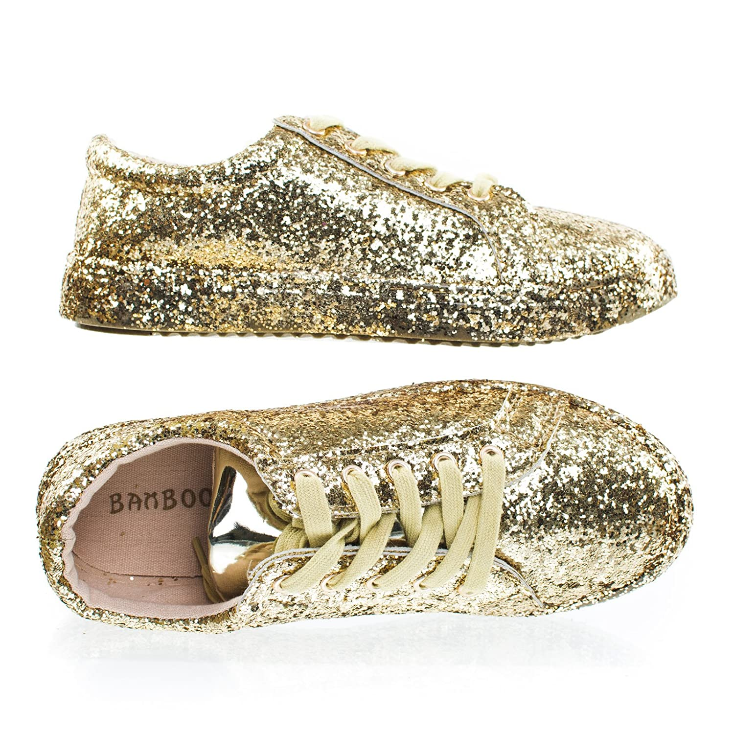 3a876a3ebb Amazon.com   BAMBOO Grandslam07 Gold Glitter Fashion Lace Up Sneaker w  Covered Platform & Metallic Upper -6.5   Athletic
