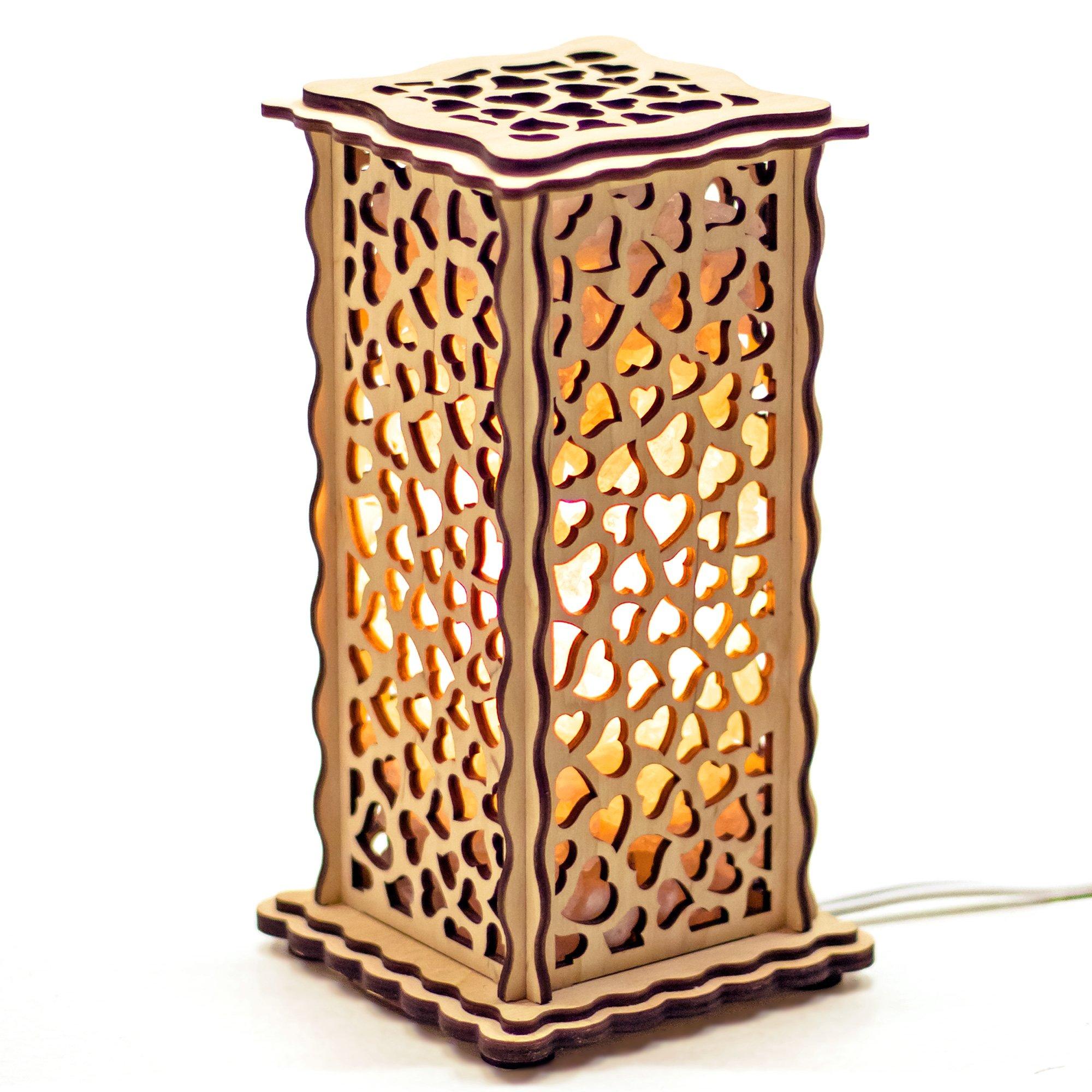 ARTSALT Salt Lamp «Hearts» – Natural Rock Salt lamp in Wooden Frame, air Purifying Salt Rocks (4 lbs), Bedroom Decoration nightlight, with dimmer Control in eco Craft Gift Box