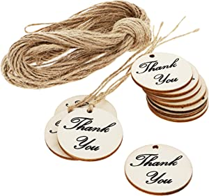 Juvale 100-Pack Thank You for Celebrating with Us - Wood Tags with Twine for Wedding and Baby Shower Party Favors, 1.5 Inches