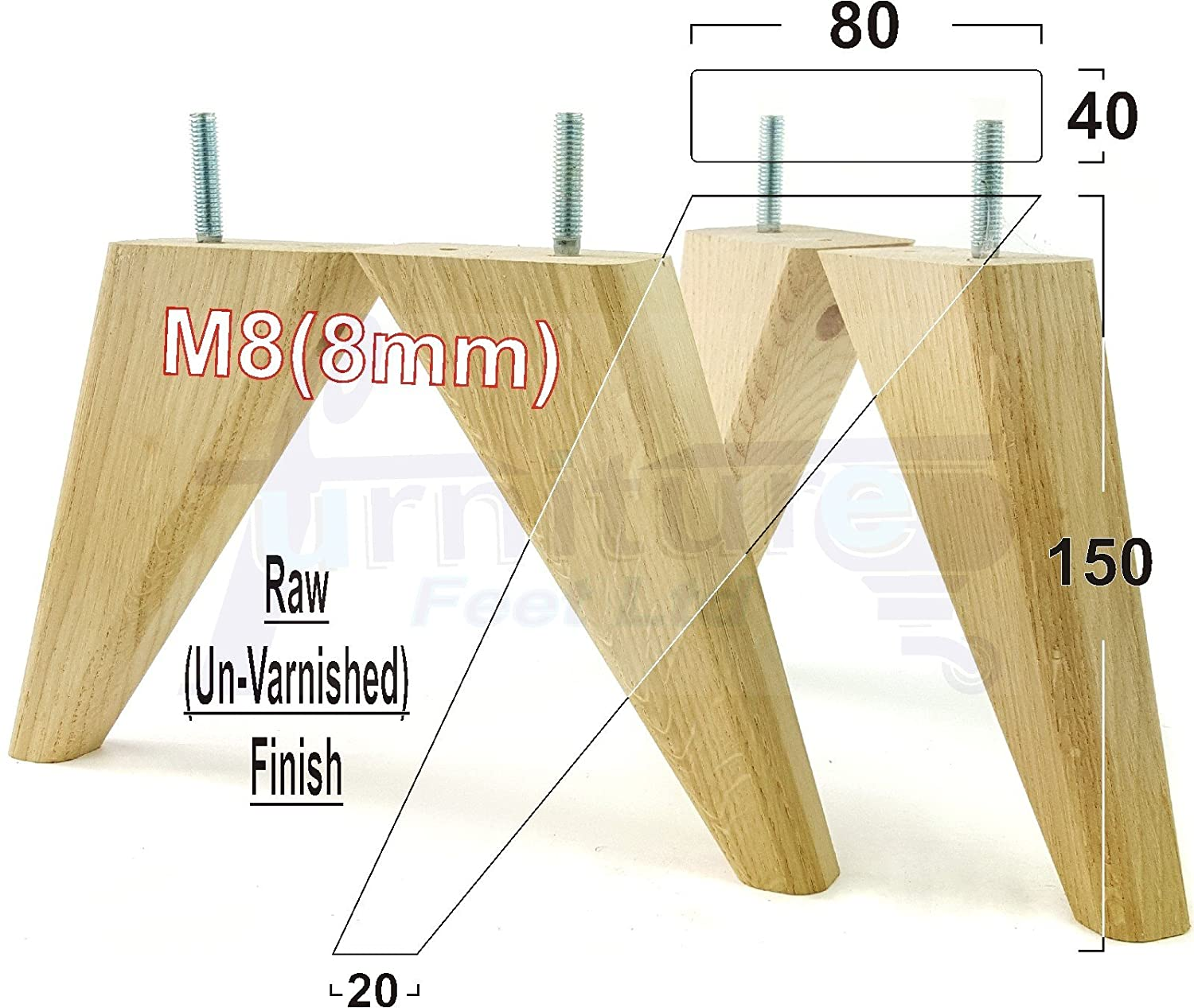 4x solid wood replacement angled feet 150mm high furniture legs for sofas chairs settees stools m88mm tsp2057 raw amazon co uk diy tools
