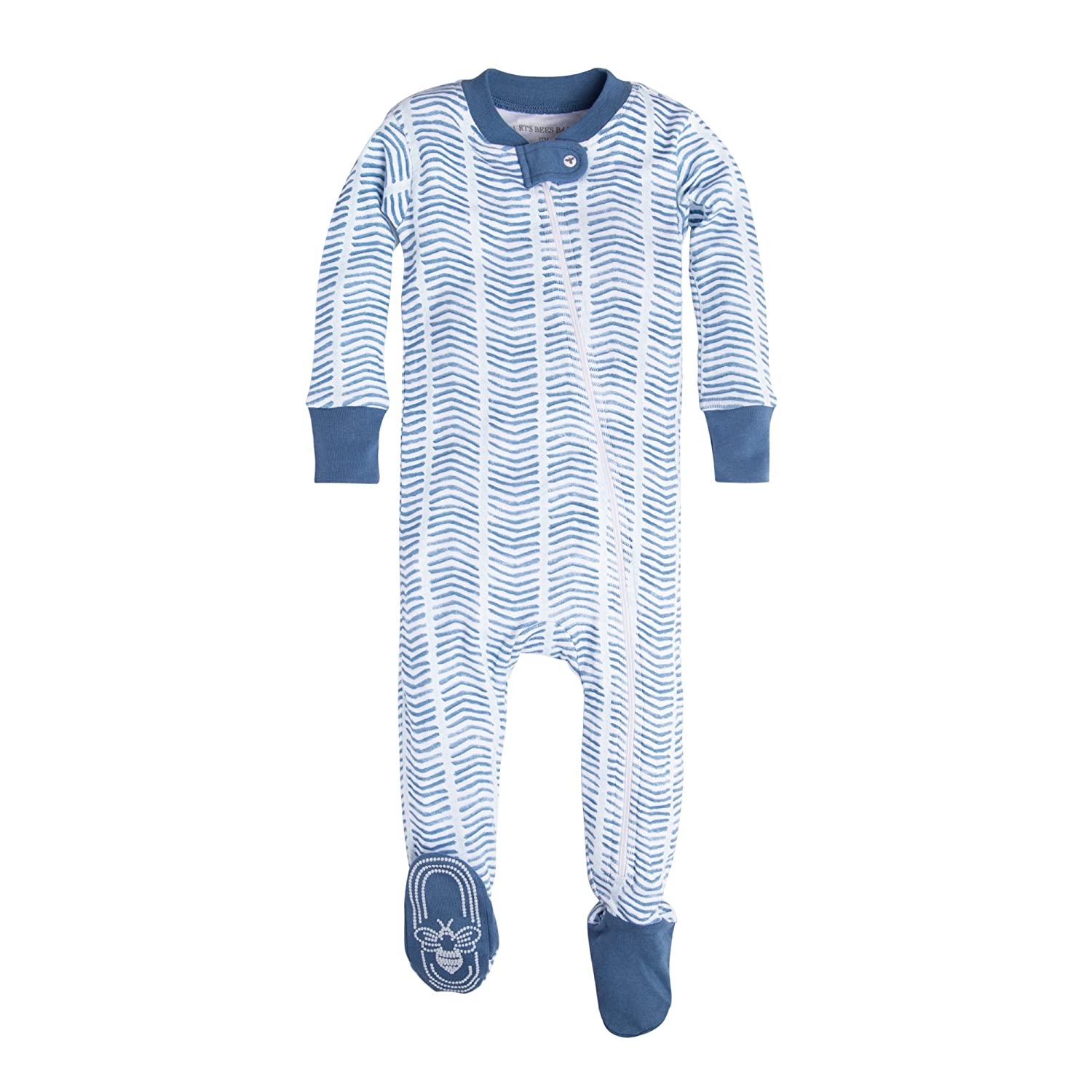 Burt's Bees Baby Baby-Boys Infant Organic Print Zip Front Non-Slip Footed Sleeper Pajamas Blue Star Watercolor Chevron 24 Months Burt' s Bees Baby LY24928